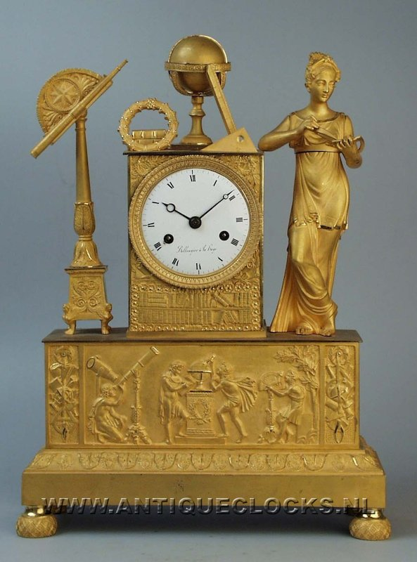 Ormolu gilded mantel clock 'science', signed 'Bollengier a la Haye', ca 1820