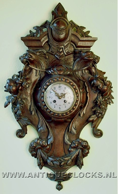 Wooden carved wallclock, ca 1870