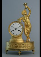 8-day movement, silk suspension, gilded case, enamel dial. H=31 cm, W=19 cm