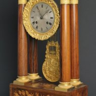 Antique french intarsia portico clock, ca. 1830