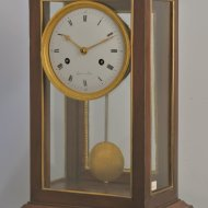 Antique French mahogany table clock, signed 'Guiot a Paris', ca 1810