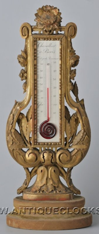 Antique thermometer, signed 'Chevalier a Paris'