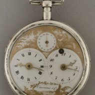 Captains watch with double dials, date, signed 'Courvoisier & Comp'. ca 1800
