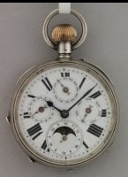Silver pocket watch with day, date, month and moonday indication. Silver inner and outer case-lids. lever escapement.