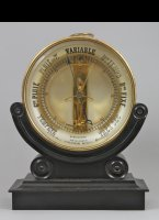 Antique 'Bourdon' barometer with stamped serial number 2044, gilded mechanism, original basement.