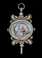 Silver pocket watch key with enamel painting and ivory