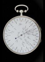 Rare silver bimetallic thermometer, fine enamel dial with graduations in Fahrenheit and Reaumur and indications