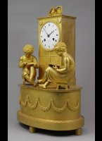 French gilded mantleclock 'Library', signed 'Labeille a Paris'