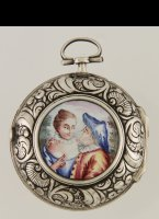 Antique silver pair case pocket watch with enamel cartouche in the back. 