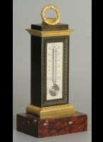 Antique french gilded patinated thermometer on ivory plate. 'Rouge griot' marble basement. Height 22,5 cm, wide 10 cm (basement).