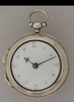 Antique silver pair case pocket watch in english style with enamel dial, steel hands. Makers initials J.H in inner case. Repair or seller paper in outer case writes: 'M.J. Erdtsieck, Horologiemaker, Gierstraat no. 784, het 3de huis van de Magdelenastraat, Haarlem'