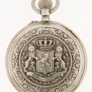 Silver pocket watch with Dutch Coat of Arms.