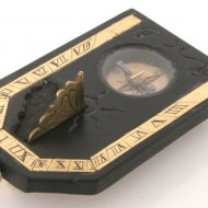 Antique ebony, ivory and brass sundial, signed 'Bertelle a Paris'.