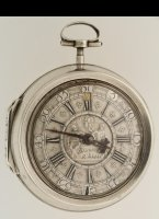 Antique silver verge pocket watch by E. Baudouin, Rotterdam. Silver dial, date, mock pendulum.