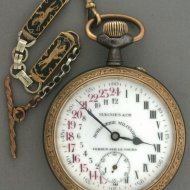 24 hour dialplate pocket watch in iron/gilded case'
