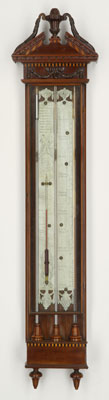 Antique dutch barometer, thermometer, contraleur with tin plates by 'D. Sala, Leyden' ca 1780