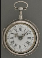 Silver verge fusee watch, enamel dial, silver hands with Rhin-stones, ajour innercase. ca. 1720. Diameter 49 mm.