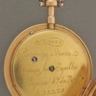 French Lépine virgule pocket watch with chatelaine and box.