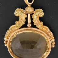 Large golden pocket watch key with big citrine