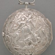 Antique silver triple case vergewatch with chatelaine for the dutch market. hallmarked 1754.