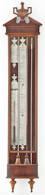 Antique dutch bakbarometer, thermometer, controleur by 'I, Tessa, Rotterdam', tin plates. ca 1770
