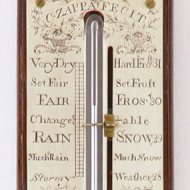 Antique 18th century english stick barometer, silvered copper dial: 'C. Zappa fecit'