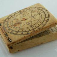 Early flemish diptych ivory sundial, dated 1553