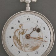 Silver verge watch with goldpainting. ca 1800