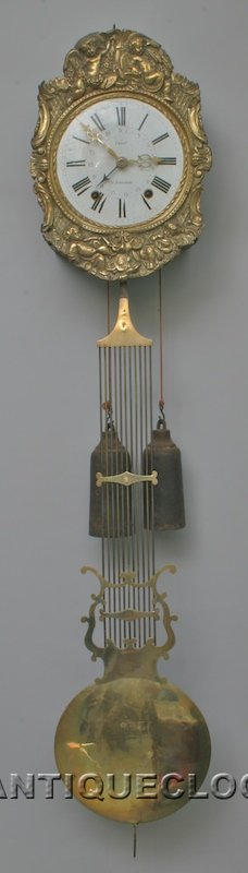 French 'Morbier'clock with gridiron pendulum. ca 1850