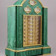 Russian Julian and Gregorian Calendarium Perpetuum (Calendrier Perpétuel, Calendar) in malachite.
