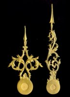 length of hands (hart to top): minute/hour: 71/56 mm, thickness: 1,2 mm, gilded. Set Nr 2. Price per set.