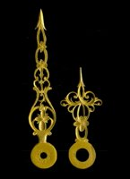 length of hands (hart to top): minute/hour: 67/40 mm, thickness: 0,6-1,0 mm. Set Nr 5, gilded. Price per set.